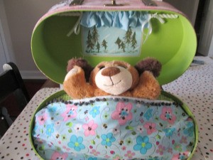 Child's Travel Buddy -  finished bear in a travel case
