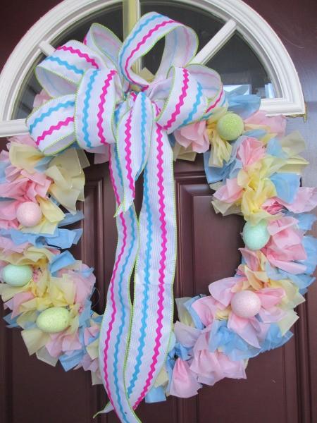 Vinyl Tablecloth Wreath - finished pastel wreath on door