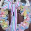 Vinyl Tablecloth Wreath - finished pastel wreath on door