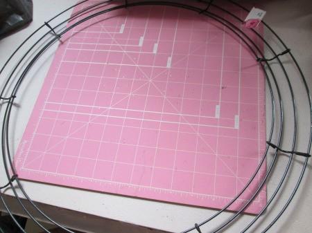 Vinyl Tablecloth Wreath - wire wreath