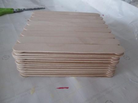 Craft Stick Basket - glue a single layer to create the bottom