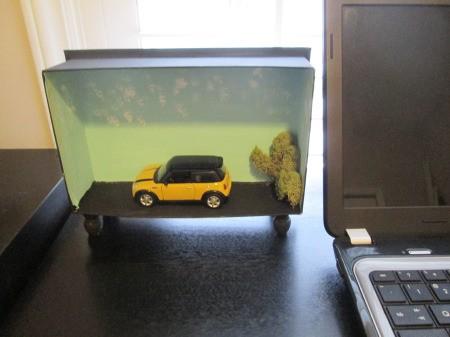 Repurposing a Candy Box Into Shadow Boxes - Mini Cooper model box