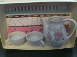 Repurposing a Candy Box Into Shadow Boxes - tea service example