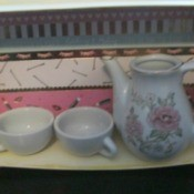 Repurposing a Candy Box Into Shadow Boxes - tea service example