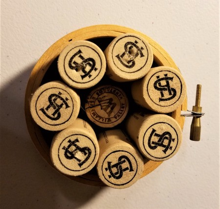 Recycled Cork Thread Dispenser  and a Candle Holder - mini hoop with 7 corks and a half cork down in the center