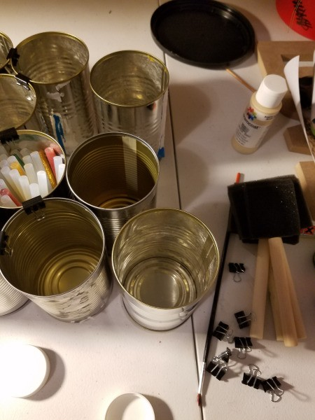 Tin Can Craft Supply Organizer - start clipping the cans together
