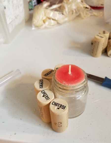 Recycled Cork Thread Dispenser and a Candle Holder - continue glueing corks