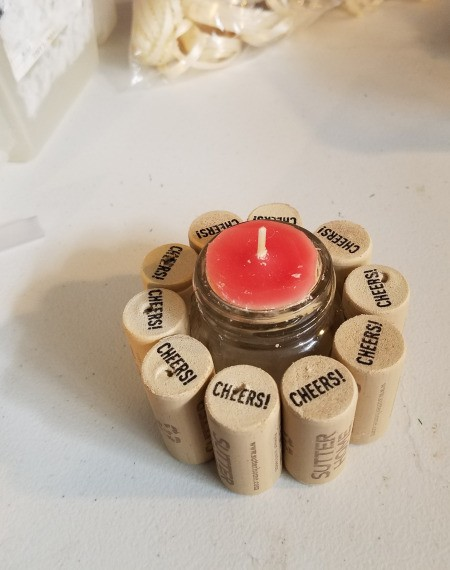 Recycled Cork Thread Dispenser and a Candle Holder
