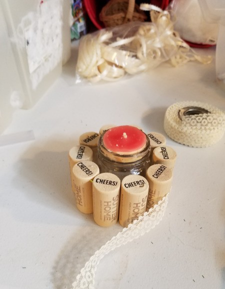 Recycled Cork Thread Dispenser and a Candle Holder - add a length of lace