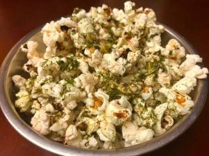 bowl of Garlic Furikake Popcorn