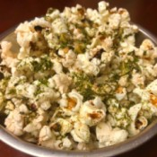 bowl of Garlic Furikake Popcorn