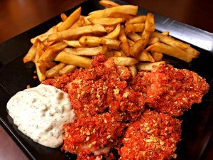 Crunchy Baked Fish, fries with Tartar Sauce on plate