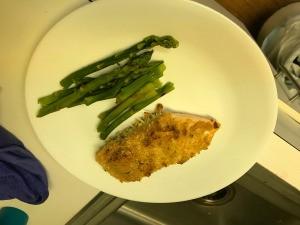 Garlic Parmesan Salmon with asparagus on plate