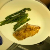 Garlic Parmesan Salmon with asparagus on plate
