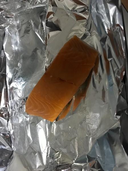 Salmon fillet on foil