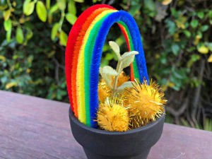 Pot O' Gold Planter - faux plant added