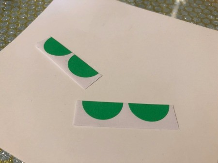 Making a Watermelon Card from Round Labels - cut some green labels in half