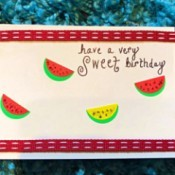 Making a Watermelon Card from Round Labels - finished card
