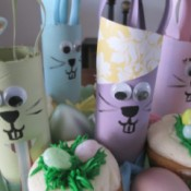 Recycled Bunny Friends - bunnies among the cupcakes