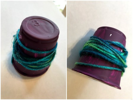 Plastic Cup Pet Bird - example of yarn wrapped cup