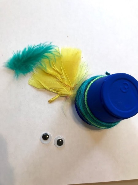 Plastic Cup Pet Bird - cup with feathers and eyes ready to attach