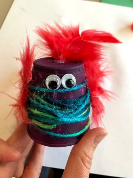 Plastic Cup Pet Bird - finished purple bird with red feathers and eyes