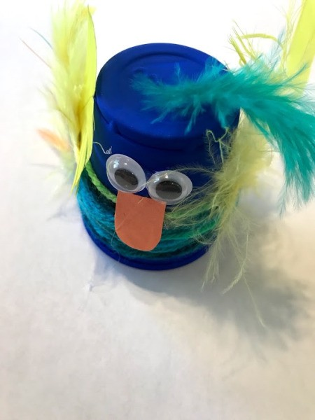 Plastic Cup Pet Bird - feather added to the top of the blue bird's head, and beak