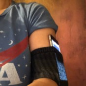 A sock being used as a DIY phone armband.