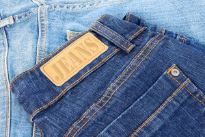 Pairs of blue jeans.