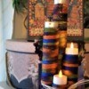 Four Tier Votive Candle Holder - finished candle holder with raffia tied around the center