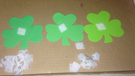 Foam Shamrock Decor Ideas - glue a square of Velcro to the back of the shamrock