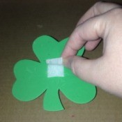 Foam Shamrock Decor Ideas - attach the piece of the Velcro with the stick on backing