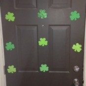 Foam Shamrock Decor Ideas  - shamrocks stuck to the front door