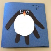 Penguin Handprint Card - card with personal message added