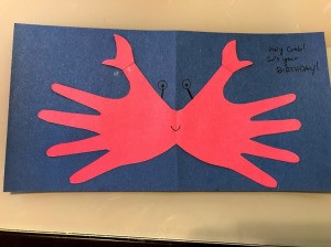 Crab Handprint Card - add message