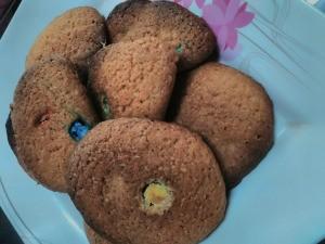 M&M Rainbow Cookies on plate