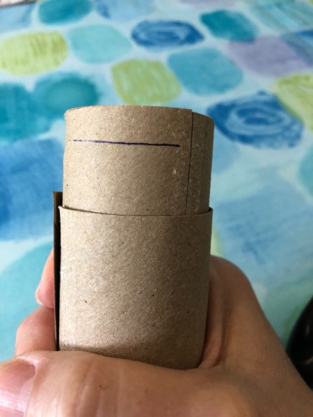Two cardboard tubes placed inside one another around a recycled lint roller.
