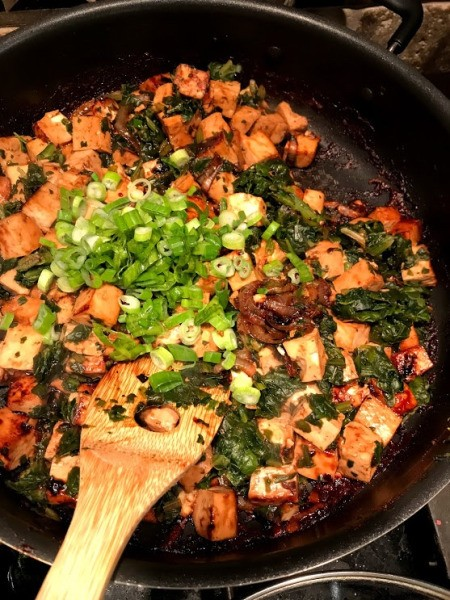 green onion added to Tofu Stir Fry