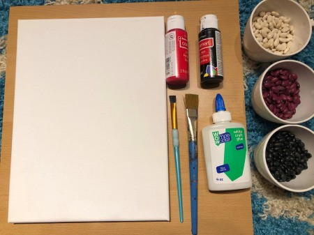 Making a Mural from Beans - supplies
