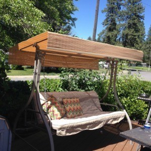 Using an Exterior Vinyl Shade as a Canopy for an Outdoor Swing