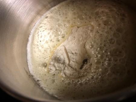 making sauce in pan