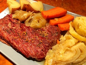 Instant Pot Corned Beef and Vegetables on plate