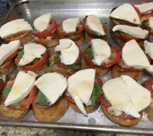 Grilled Caprese Toast on baking tray