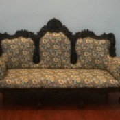 Value of a Victorian Sofa - Victorian style wood trimmed upholstered sofa