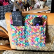 Crocheted Remote Pouch - remotes in pouch