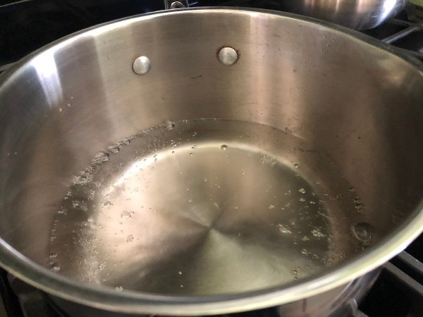 A pan of water, ready for poaching eggs.