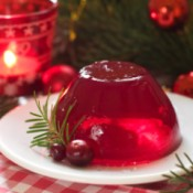 A clear gelatin made from cranberry juice