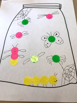 Create Bug Art from Labels for Story Time - finished jar