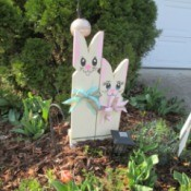 Wooden Bunnies - ready to place in garden