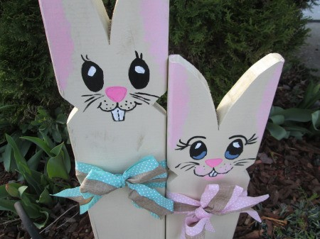 Wooden Bunnies - paint faces and spray with clear coat then add bows